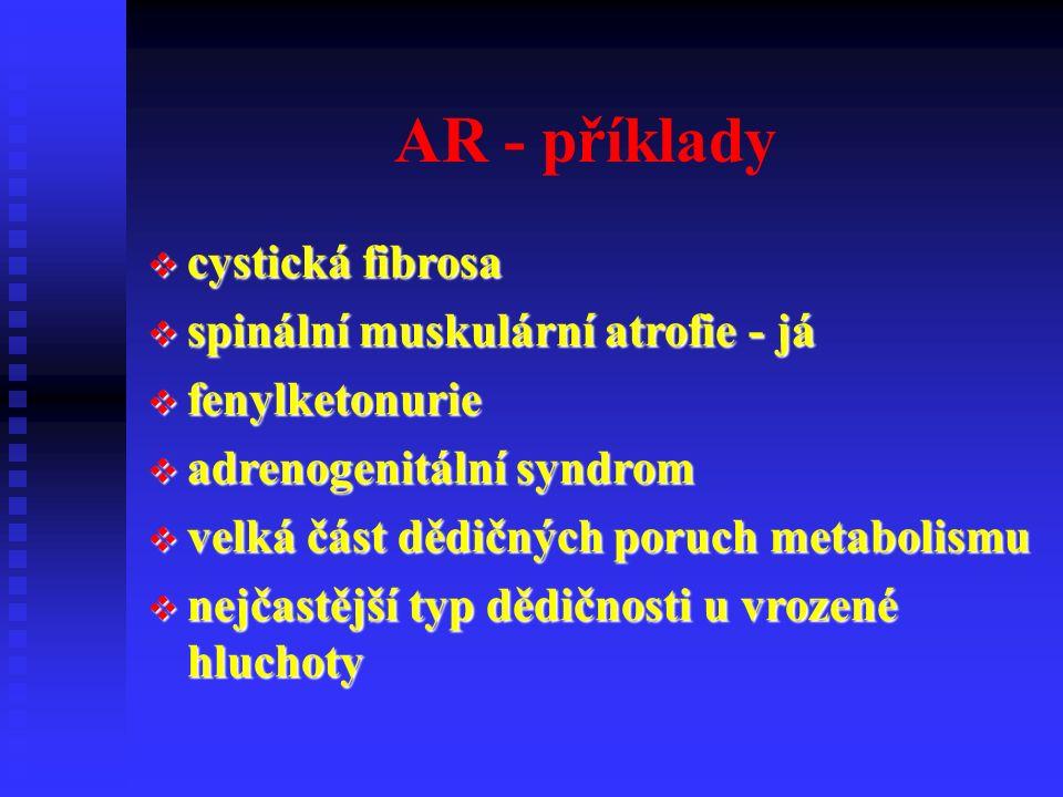 AR - příklady  cystická fibrosa  spinální muskulární atrofie - já  fenylketonurie  adrenogenitální syndrom  velká část dědičných poruch metabolismu  nejčastější typ dědičnosti u vrozené hluchoty