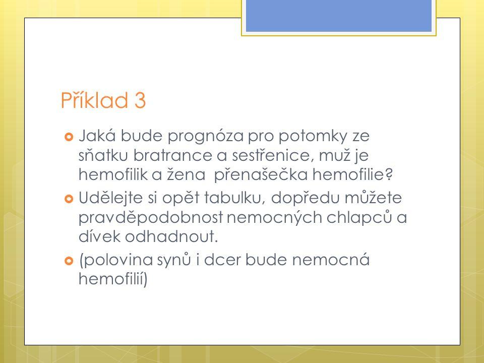 Příklad 3  Jaká bude prognóza pro potomky ze sňatku bratrance a sestřenice, muž je hemofilik a žena přenašečka hemofilie.