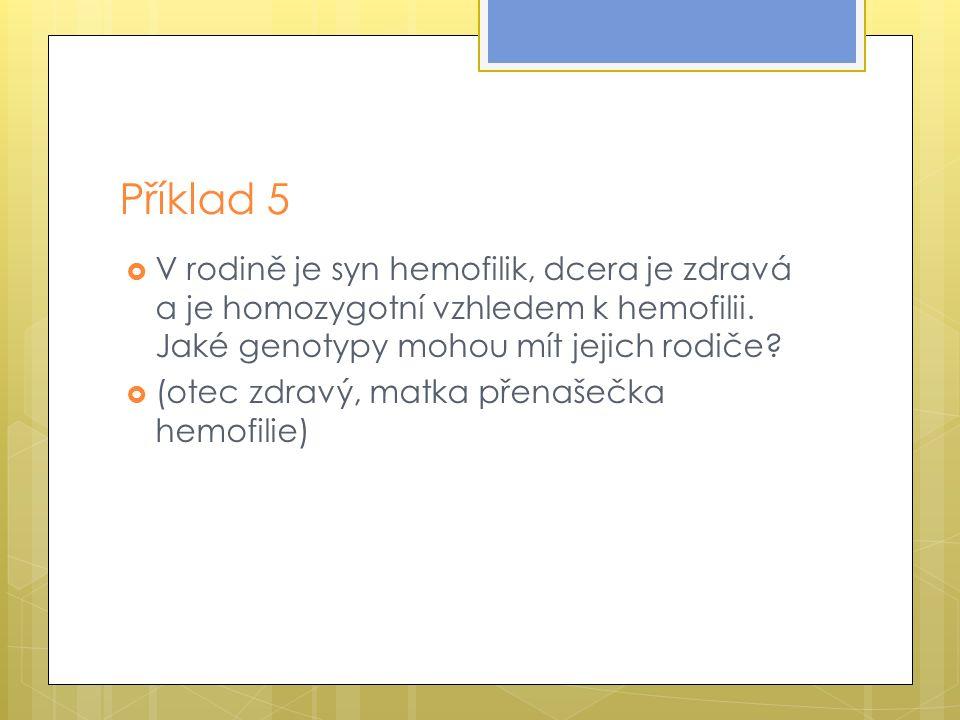 Příklad 5  V rodině je syn hemofilik, dcera je zdravá a je homozygotní vzhledem k hemofilii.