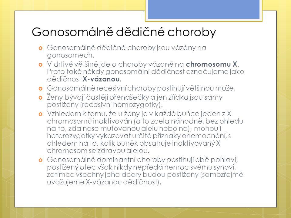 Gonosomálně dědičné choroby  Gonosomálně dědičné choroby jsou vázány na gonosomech.