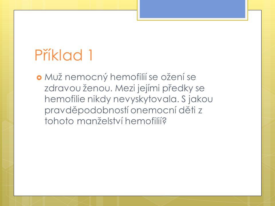 Příklad 1  Muž nemocný hemofilií se ožení se zdravou ženou.