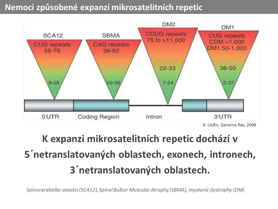 K expanzi mikrosatelitních repetic dochází v 5´netranslatovaných oblastech, exonech, intronech, 3´netranslatovaných oblastech.
