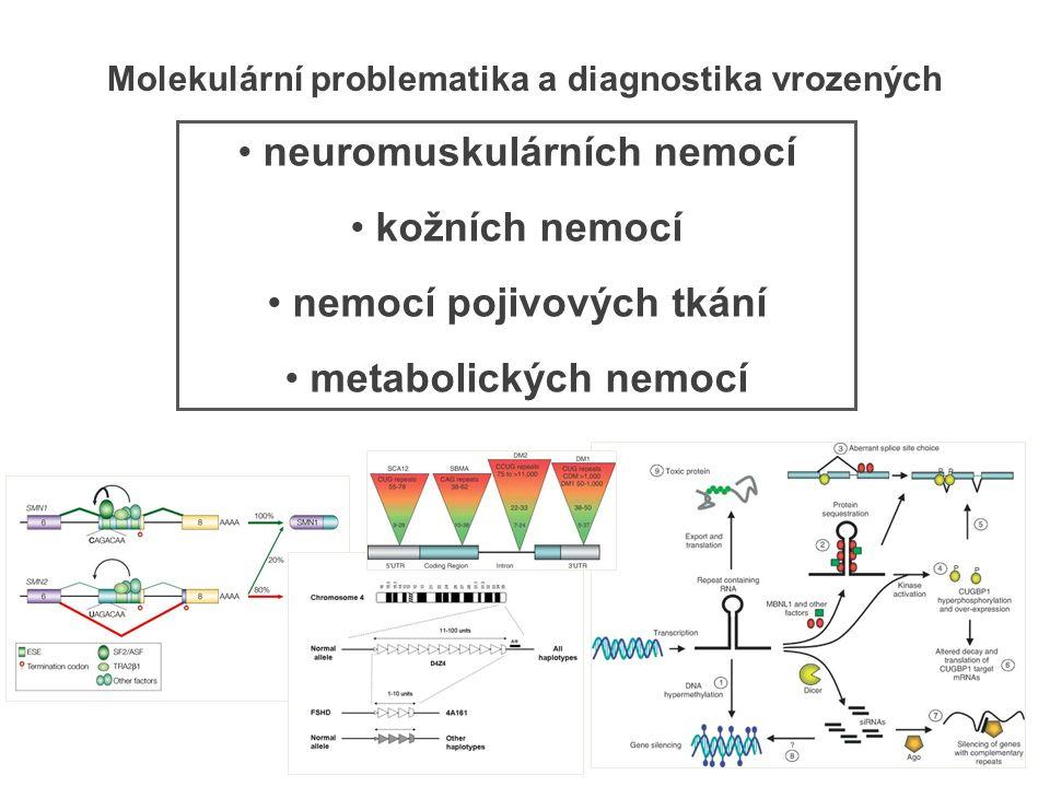 neuromuskulárních nemocí kožních nemocí nemocí pojivových tkání metabolických nemocí Molekulární problematika a diagnostika vrozených