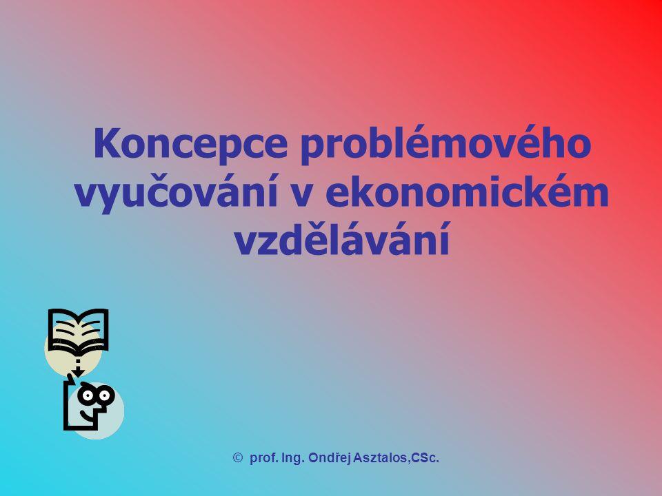 Koncepce problémového vyučování v ekonomickém vzdělávání 1.Pojem koncepce vyučování = celkový přístup ke vzdělávání a vyučování týkající se 2.Tradiční koncepce ekonomického vzdělávání 3.Charakteristika tvořivosti žáků v ekonomickém vzdělávání pro jejich aktivní zapojení do hospodářské praxe 4.Didaktické znaky problémové ekonomické situace 5.Základní etapy ekonomického myšlení žáka v problémovém vyučování 6.Struktura didaktického materiálu k problémovému vyučování v ekonomickém vzdělávání 7.Metody navozování a organizování řešení problémových situací 8.Formulace a realizace řešení problémových situací pomocí aktivizujících metod 9.Elementární metody problémového vyučování a učení v ekonomickém vzdělávání
