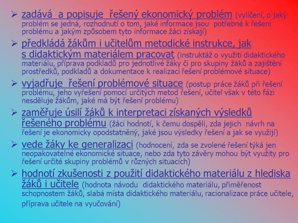  zadává a popisuje řešený ekonomický problém (vylíčení, o jaký problém se jedná, rozhodnutí o tom, jaké informace jsou potřebné k řešení problému a jakým způsobem tyto informace žáci získají)  předkládá žákům i učitelům metodické instrukce, jak s didaktickým materiálem pracovat (instruktáž o využití didaktického materiálu, příprava podkladů pro jednotlivé žáky či pro skupiny žáků a zajištění prostředků, podkladů a dokumentace k realizaci řešení problémové situace)  vyjadřuje řešení problémové situace (postup práce žáků při řešení problému, jeho vyřešení pomocí určitých metod řešení, učitel však v této fázi nesděluje žákům, jaké má být řešení problému)  zaměřuje úsilí žáků k interpretaci získaných výsledků řešeného problému (žáci hodnotí, k čemu dospěli, zda jejich návrh na řešení je ekonomicky opodstatněný, jaké jsou výsledky řešení a jak se využijí)  vede žáky ke generalizaci (hodnocení, zda se zvolené řešení týká jen neopakovatelné ekonomické situace, nebo zda tyto závěry mohou být využity pro řešení určité skupiny problémů v různých situacích)  hodnotí zkušenosti z použití didaktického materiálu z hlediska žáků i učitele (hodnota návodu didaktického materiálu, přiměřenost schopnostem žáků, slabá místa didaktického materiálu, racionalizace práce učitele, příprava učitele na vyučování)