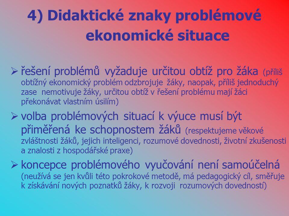 4) Didaktické znaky problémové ekonomické situace  řešení problémů vyžaduje určitou obtíž pro žáka (příliš obtížný ekonomický problém odzbrojuje žáky, naopak, příliš jednoduchý zase nemotivuje žáky, určitou obtíž v řešení problému mají žáci překonávat vlastním úsilím)  volba problémových situací k výuce musí být přiměřená ke schopnostem žáků (respektujeme věkové zvláštnosti žáků, jejich inteligenci, rozumové dovednosti, životní zkušenosti a znalosti z hospodářské praxe)  koncepce problémového vyučování není samoúčelná (neužívá se jen kvůli této pokrokové metodě, má pedagogický cíl, směřuje k získávání nových poznatků žáky, k rozvoji rozumových dovedností)