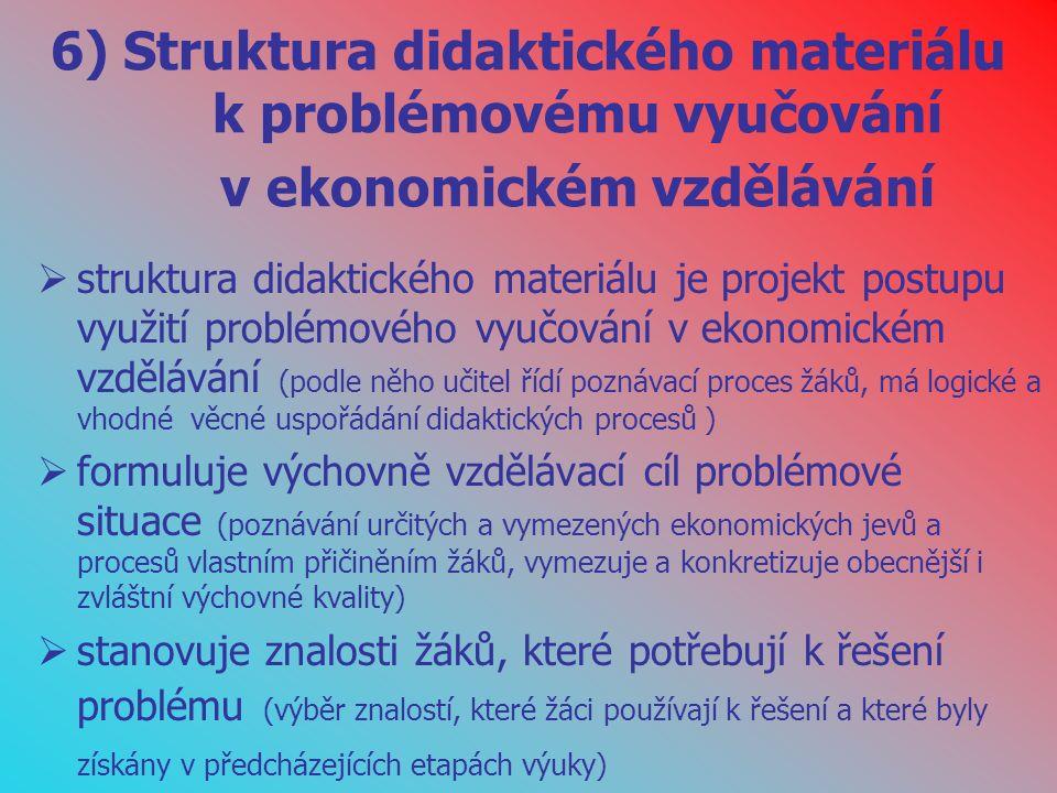 6) Struktura didaktického materiálu k problémovému vyučování v ekonomickém vzdělávání  struktura didaktického materiálu je projekt postupu využití problémového vyučování v ekonomickém vzdělávání (podle něho učitel řídí poznávací proces žáků, má logické a vhodné věcné uspořádání didaktických procesů )  formuluje výchovně vzdělávací cíl problémové situace (poznávání určitých a vymezených ekonomických jevů a procesů vlastním přičiněním žáků, vymezuje a konkretizuje obecnější i zvláštní výchovné kvality)  stanovuje znalosti žáků, které potřebují k řešení problému (výběr znalostí, které žáci používají k řešení a které byly získány v předcházejících etapách výuky)