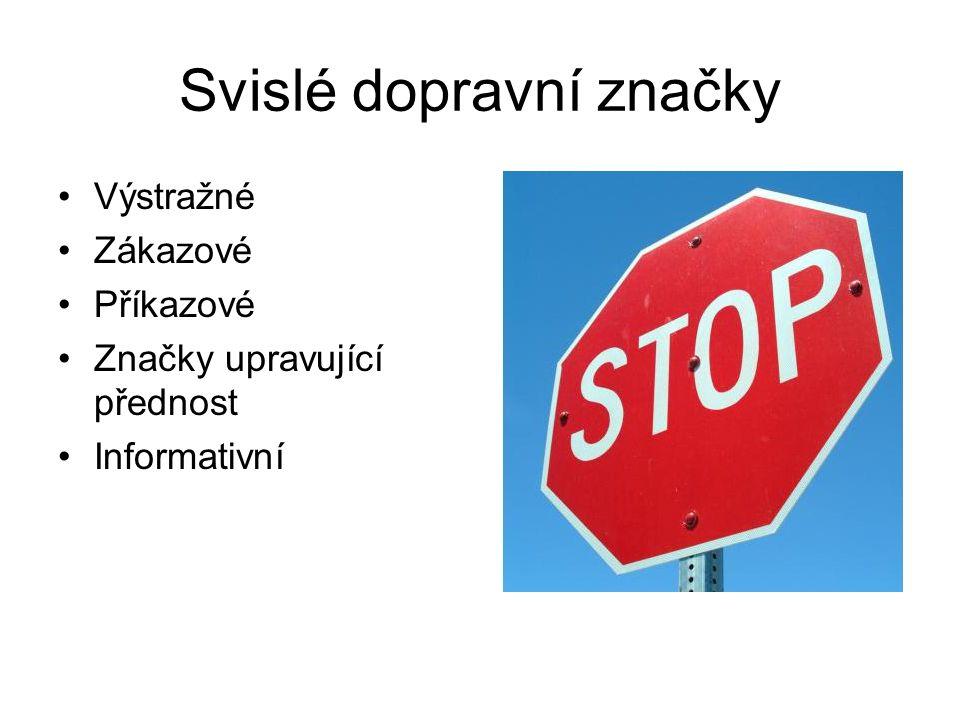 Svislé dopravní značky Výstražné Zákazové Příkazové Značky upravující přednost Informativní