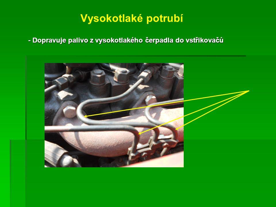 Vysokotlaké potrubí - Dopravuje palivo z vysokotlakého čerpadla do vstřikovačů