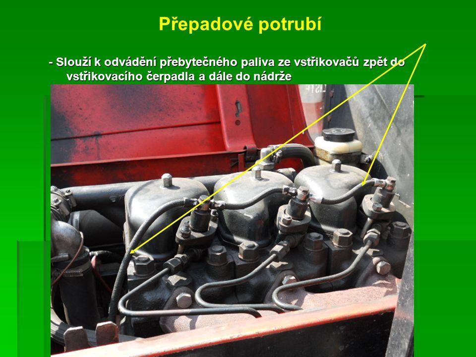Přepadové potrubí - Slouží k odvádění přebytečného paliva ze vstřikovačů zpět do vstřikovacího čerpadla a dále do nádrže