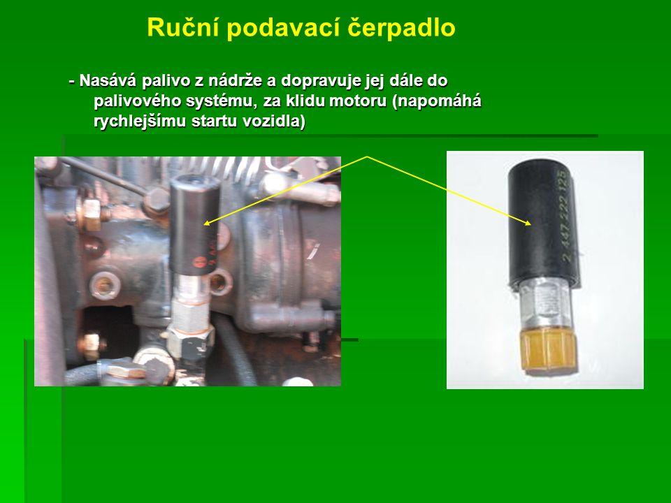 Ruční podavací čerpadlo - Nasává palivo z nádrže a dopravuje jej dále do palivového systému, za klidu motoru (napomáhá rychlejšímu startu vozidla)