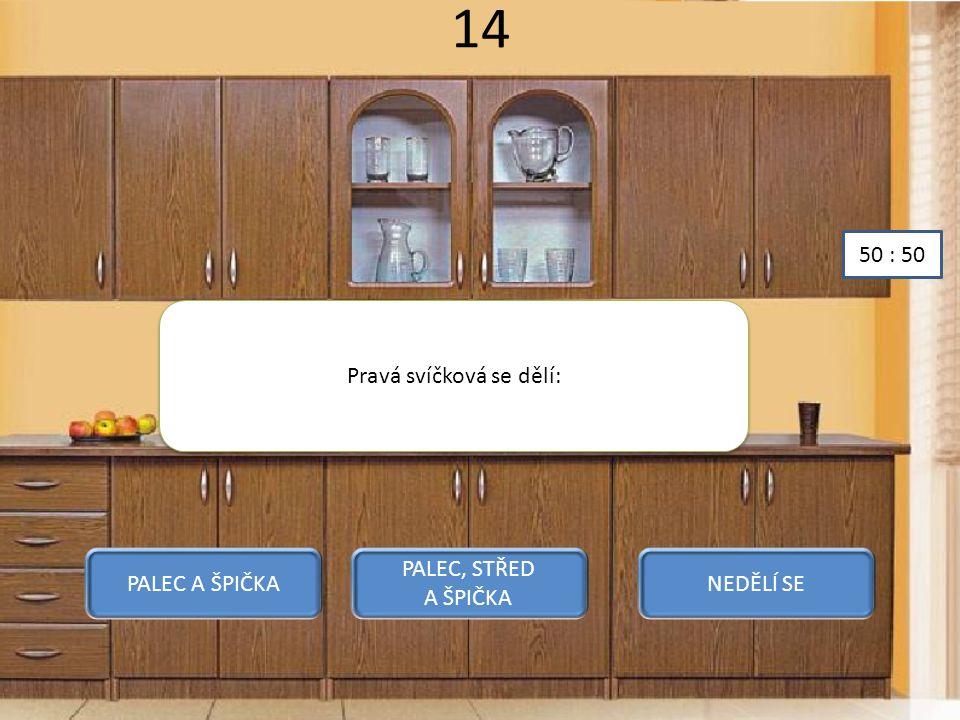 14 Pravá svíčková se dělí: PALEC A ŠPIČKA PALEC, STŘED A ŠPIČKA NEDĚLÍ SE 50 : 50