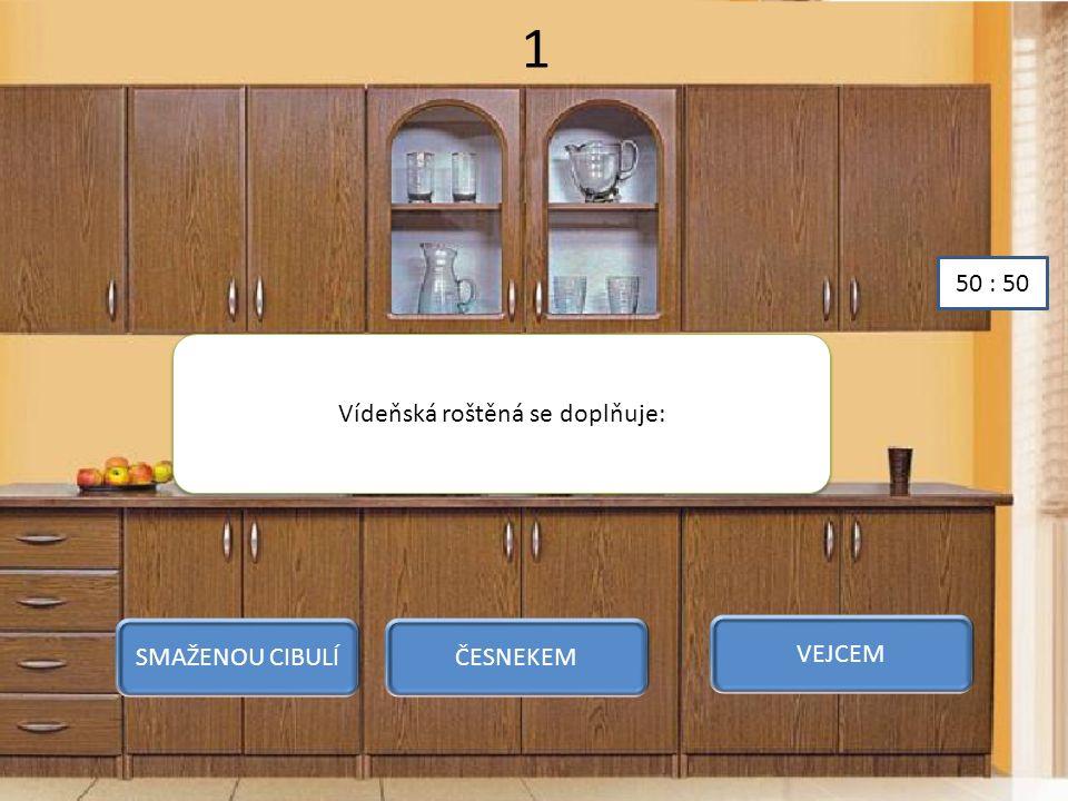 1 Vídeňská roštěná se doplňuje: SMAŽENOU CIBULÍČESNEKEM VEJCEM 50 : 50