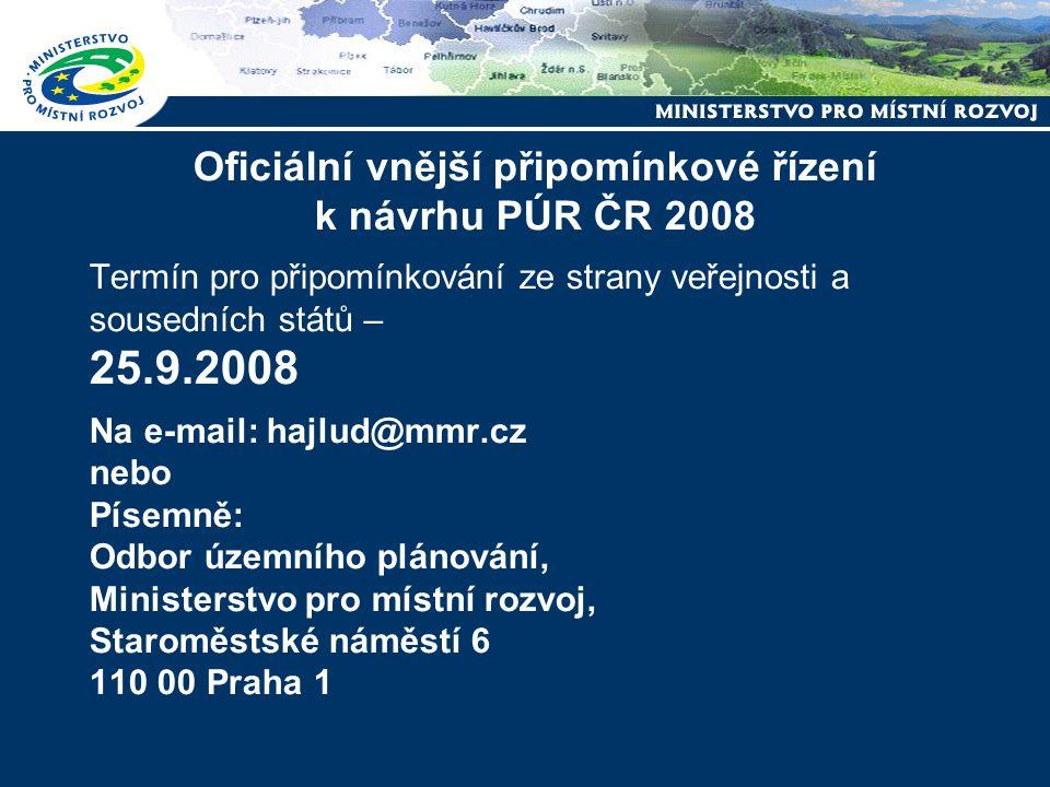 Harmonogram prací na Politice územního rozvoje ČR 2008 leden – květen 2008 - příprava pracovního znění PÚR ČR 2008 ve spolupráci s Konzultačním a v Koordinačním výborem polovina června – září 2008 - vnější připomínkové řízení, včetně připomínkování ze strany veřejnosti a konzultace se sousedními státy 22.7.