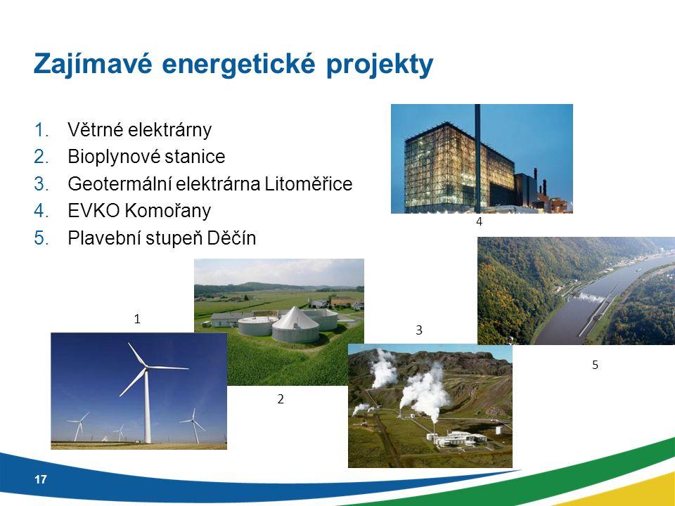 Zajímavé energetické projekty 1.Větrné elektrárny 2.Bioplynové stanice 3.Geotermální elektrárna Litoměřice 4.EVKO Komořany 5.Plavební stupeň Děčín 17 1 2 3 4 5