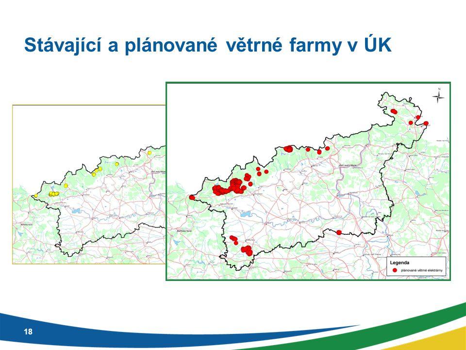 Stávající a plánované větrné farmy v ÚK 18