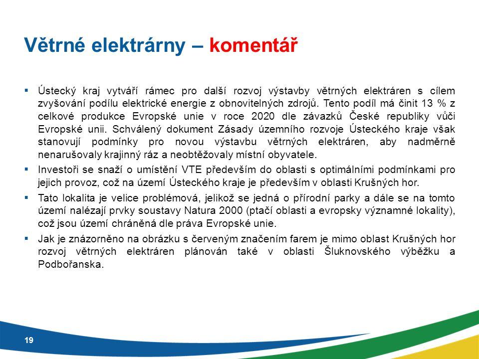 Větrné elektrárny – komentář  Ústecký kraj vytváří rámec pro další rozvoj výstavby větrných elektráren s cílem zvyšování podílu elektrické energie z obnovitelných zdrojů.