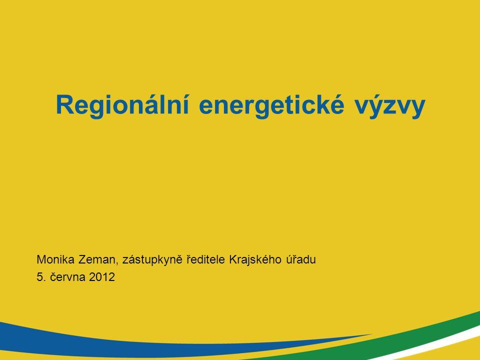 Regionální energetické výzvy Monika Zeman, zástupkyně ředitele Krajského úřadu 5. června 2012