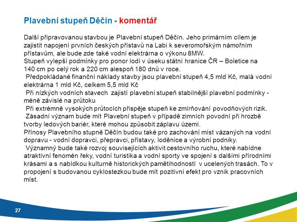 27 Plavební stupeň Děčín - komentář Další připravovanou stavbou je Plavební stupeň Děčín. Jeho primárním cílem je zajistit napojení prvních českých př