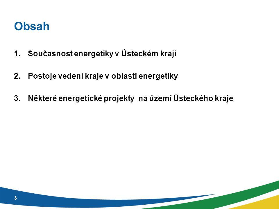Obsah 1.Současnost energetiky v Ústeckém kraji 2.Postoje vedení kraje v oblasti energetiky 3.Některé energetické projekty na území Ústeckého kraje 3