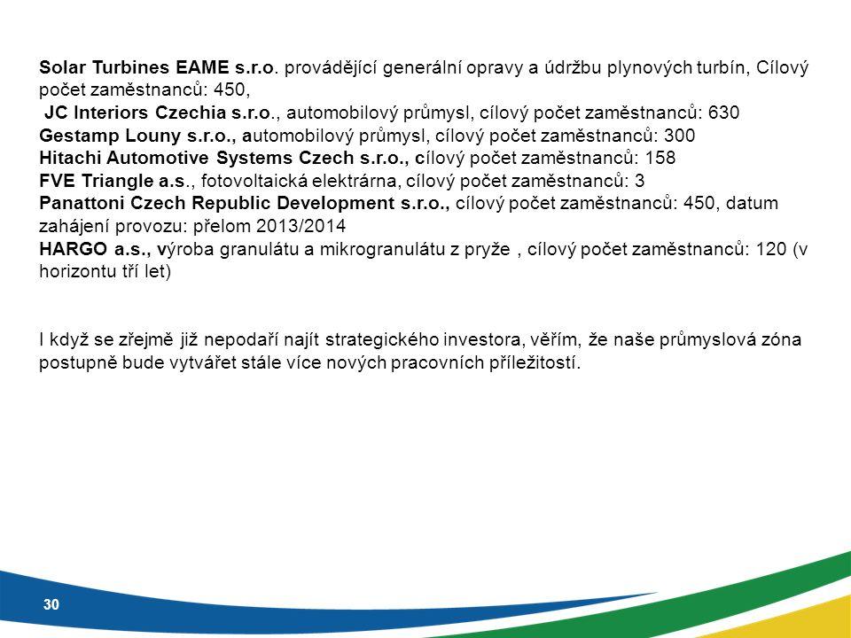 30 Solar Turbines EAME s.r.o. provádějící generální opravy a údržbu plynových turbín, Cílový počet zaměstnanců: 450, JC Interiors Czechia s.r.o., auto