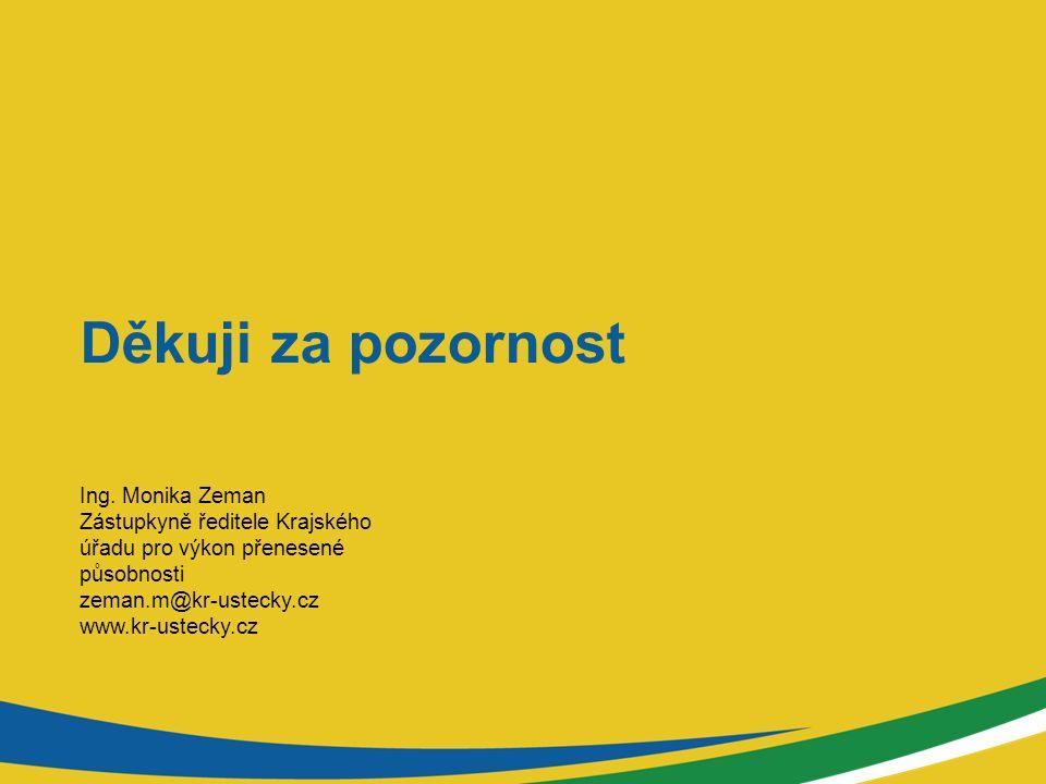 Děkuji za pozornost Ing. Monika Zeman Zástupkyně ředitele Krajského úřadu pro výkon přenesené působnosti zeman.m@kr-ustecky.cz www.kr-ustecky.cz
