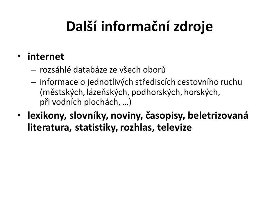 Další informační zdroje internet – rozsáhlé databáze ze všech oborů – informace o jednotlivých střediscích cestovního ruchu (městských, lázeňských, po
