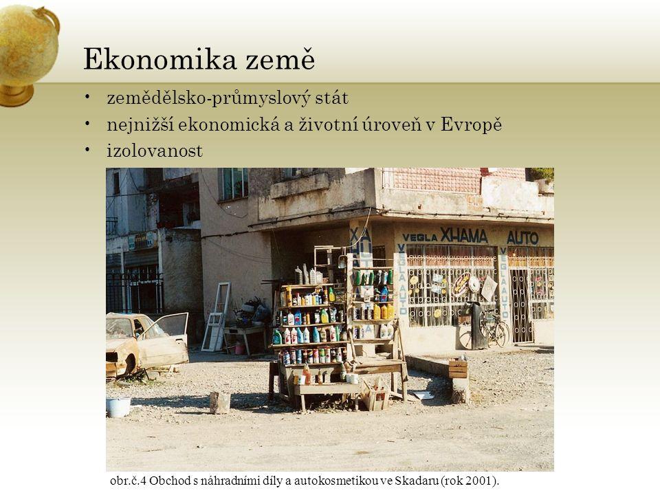 Ekonomika země zemědělsko-průmyslový stát nejnižší ekonomická a životní úroveň v Evropě izolovanost obr.č.4 Obchod s náhradními díly a autokosmetikou ve Skadaru (rok 2001).