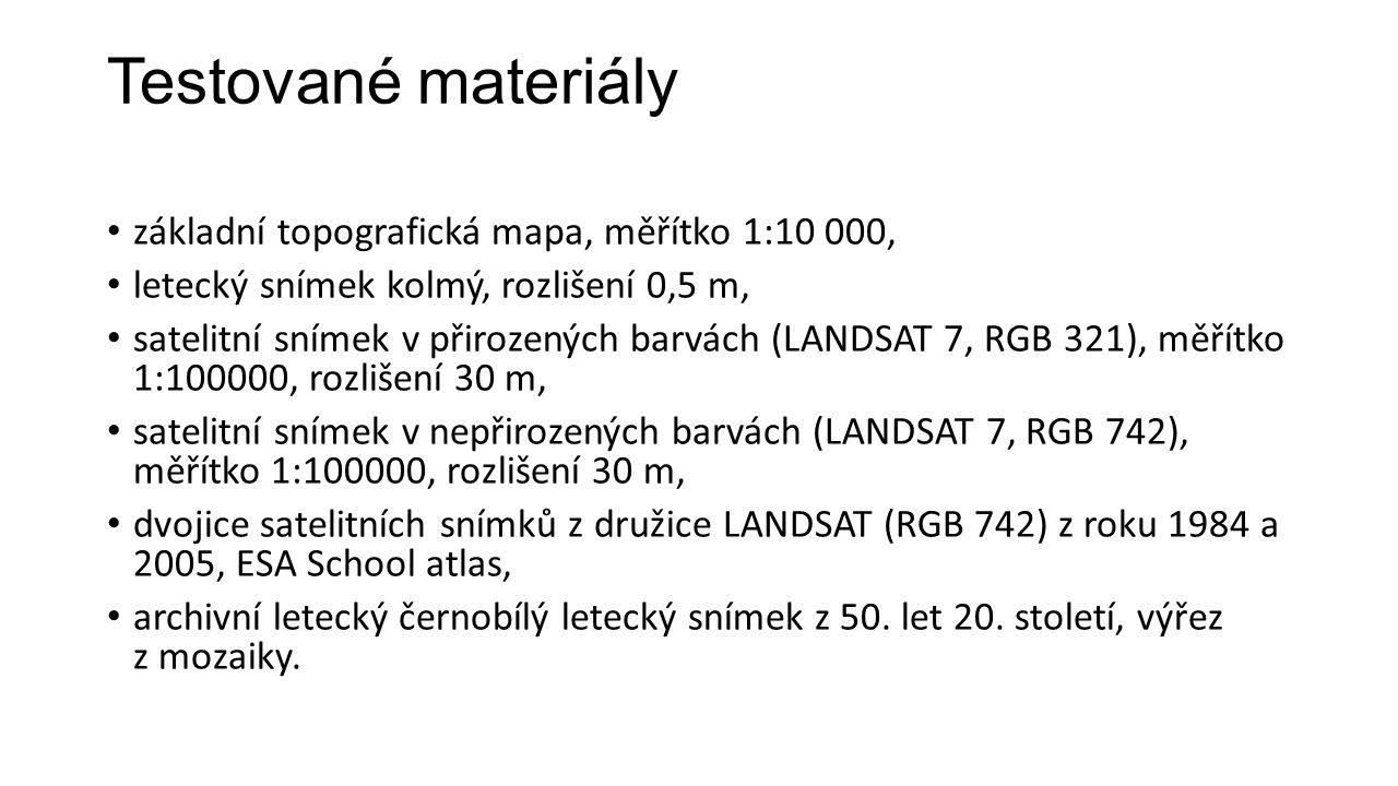 Testované materiály základní topografická mapa, měřítko 1:10 000, letecký snímek kolmý, rozlišení 0,5 m, satelitní snímek v přirozených barvách (LANDSAT 7, RGB 321), měřítko 1:100000, rozlišení 30 m, satelitní snímek v nepřirozených barvách (LANDSAT 7, RGB 742), měřítko 1:100000, rozlišení 30 m, dvojice satelitních snímků z družice LANDSAT (RGB 742) z roku 1984 a 2005, ESA School atlas, archivní letecký černobílý letecký snímek z 50.