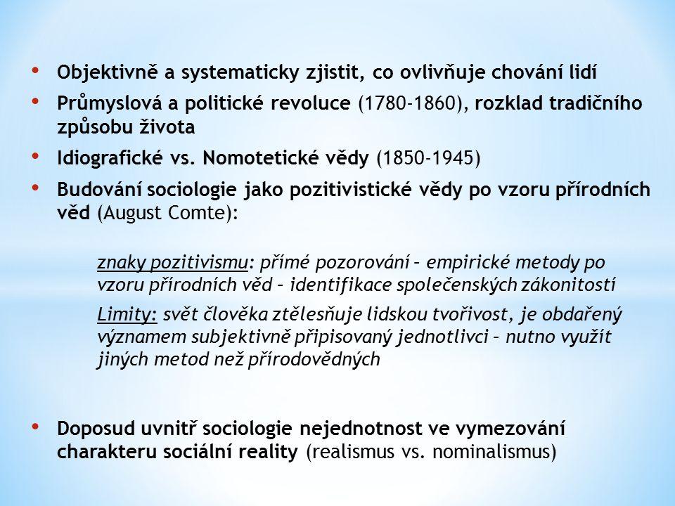 Objektivně a systematicky zjistit, co ovlivňuje chování lidí Průmyslová a politické revoluce (1780-1860), rozklad tradičního způsobu života Idiografické vs.