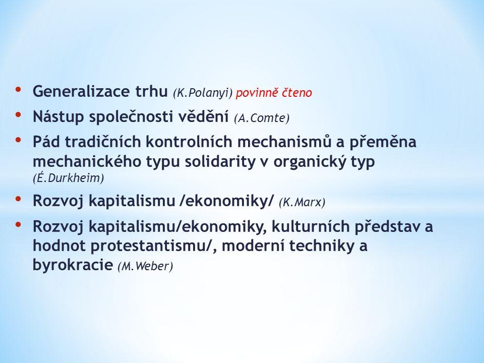 Generalizace trhu (K.Polanyi) povinně čteno Nástup společnosti vědění (A.Comte) Pád tradičních kontrolních mechanismů a přeměna mechanického typu solidarity v organický typ (É.Durkheim) Rozvoj kapitalismu /ekonomiky/ (K.Marx) Rozvoj kapitalismu/ekonomiky, kulturních představ a hodnot protestantismu/, moderní techniky a byrokracie (M.Weber)