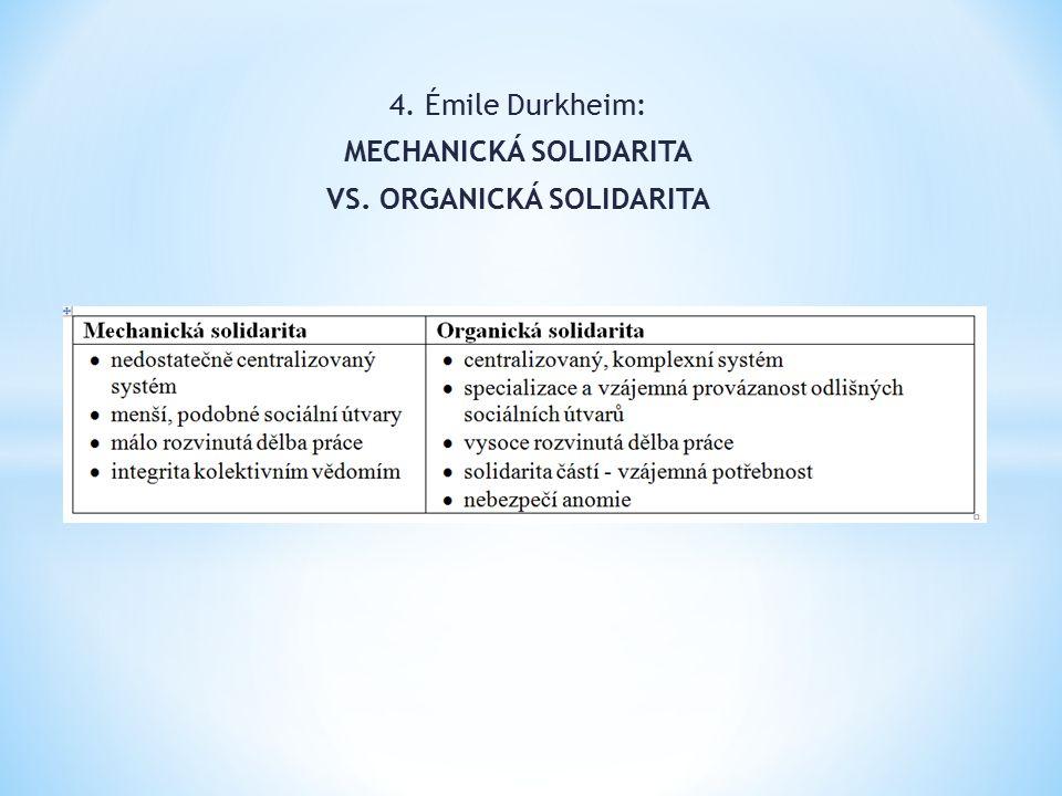 4. Émile Durkheim: MECHANICKÁ SOLIDARITA VS. ORGANICKÁ SOLIDARITA