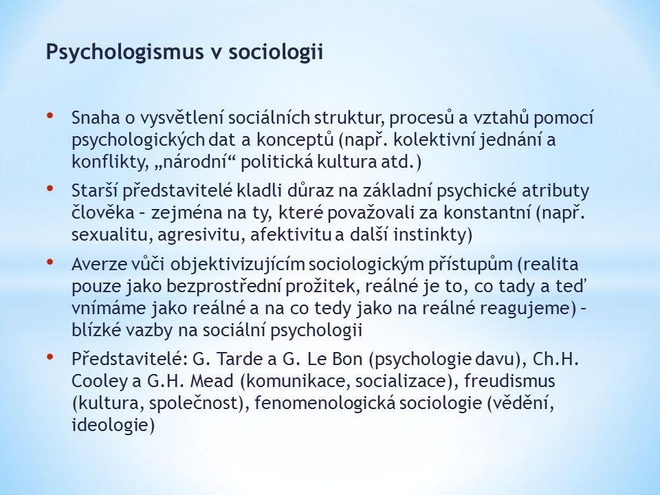 Psychologismus v sociologii Snaha o vysvětlení sociálních struktur, procesů a vztahů pomocí psychologických dat a konceptů (např. kolektivní jednání a