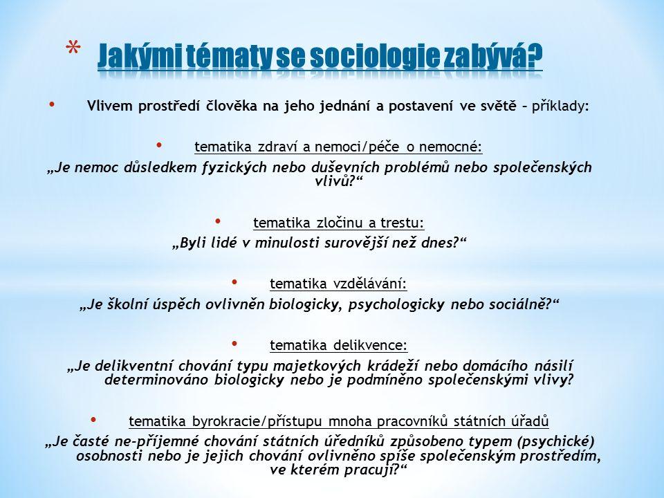"""Vlivem prostředí člověka na jeho jednání a postavení ve světě – příklady: tematika zdraví a nemoci/péče o nemocné: """"Je nemoc důsledkem fyzických nebo duševních problémů nebo společenských vlivů tematika zločinu a trestu: """"Byli lidé v minulosti surovější než dnes tematika vzdělávání: """"Je školní úspěch ovlivněn biologicky, psychologicky nebo sociálně tematika delikvence: """"Je delikventní chování typu majetkových krádeží nebo domácího násilí determinováno biologicky nebo je podmíněno společenskými vlivy."""
