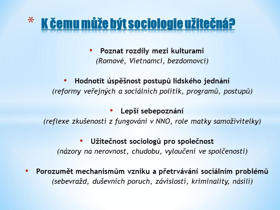 Poznat rozdíly mezi kulturami (Romové, Vietnamci, bezdomovci) Hodnotit úspěšnost postupů lidského jednání (reformy veřejných a sociálních politik, programů, postupů) Lepší sebepoznání (reflexe zkušeností z fungování v NNO, role matky samoživitelky) Užitečnost sociologů pro společnost (názory na nerovnost, chudobu, vyloučení ve spolčenosti) Porozumět mechanismům vzniku a přetrvávání sociálním problémů (sebevražd, duševních poruch, závislostí, kriminality, násilí)