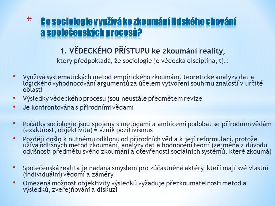1. VĚDECKÉHO PŘÍSTUPU ke zkoumání reality, který předpokládá, že sociologie je vědecká disciplína, tj.: Využívá systematických metod empirického zkoum