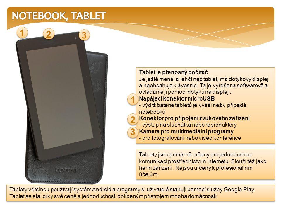 Tablety většinou používají systém Android a programy si uživatelé stahují pomocí služby Google Play. Tablet se stal díky své ceně a jednoduchosti oblí