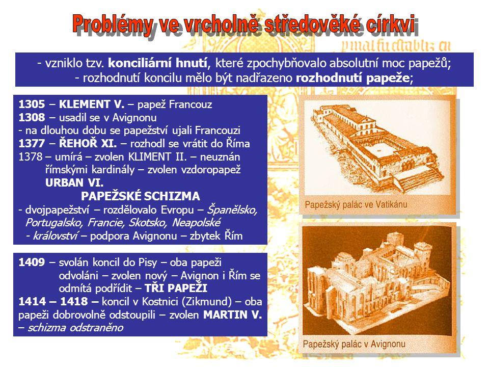 """- chiliastické vize – víra v tisíciletou Boží pozemskou říši - učené kacířství – problémy církve se staly podkladem celé řady kázání – autoři vzdělaní teologové – devotio moderna = nová zbožnost REFORMÁTOŘI ZÁPADNÍHO SVĚTA JAN VIKLEF (1320 – 1384) - profesor na Oxfordu (matematika + přírodní vědy) - přeložil do angličtiny bibli - nejvyšší normou pro uspořádání společnosti, morálky a práva """" je Kristovo učení v bibli - rozlišoval církev pravou a církev zesvětštělou a nemravnou - zpočátku měl podporu královského dvora, později se nepohodl, souzen ale nebyl Čeští reformátoři Konrád Waldhauser – rakouský kazatel v Praze = kritizoval svatokupectví, prodej odpustků a kupčení s církevními úřady Jan Milíč z Kroměříže – královský úředník – vzdal se – zdůrazňoval svobodu kázání"""