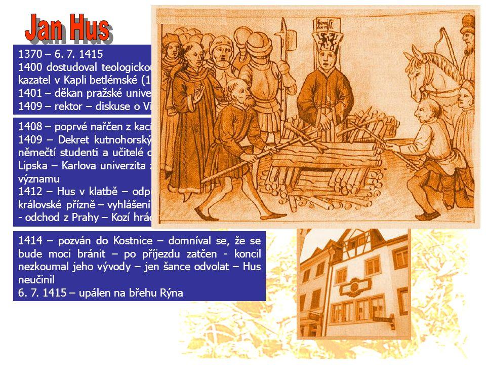 1370 – 6. 7. 1415 1400 dostudoval teologickou fakultu – vysvěcen – kazatel v Kapli betlémské (1402 – 1412) 1401 – děkan pražské univerzity 1409 – rekt