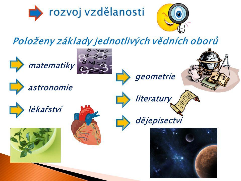Položeny základy jednotlivých vědních oborů matematiky geometrie astronomie literatury lékařství dějepisectví