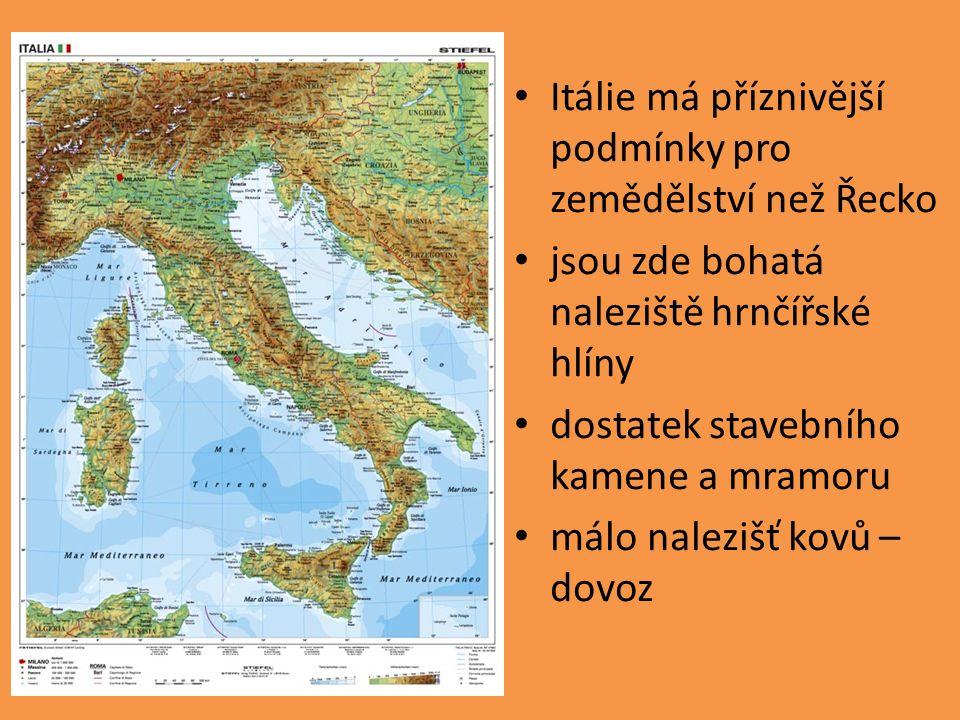 Itálie má příznivější podmínky pro zemědělství než Řecko jsou zde bohatá naleziště hrnčířské hlíny dostatek stavebního kamene a mramoru málo nalezišť kovů – dovoz