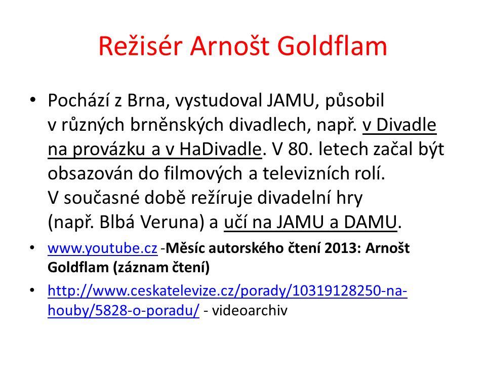 Režisér Arnošt Goldflam Pochází z Brna, vystudoval JAMU, působil v různých brněnských divadlech, např.