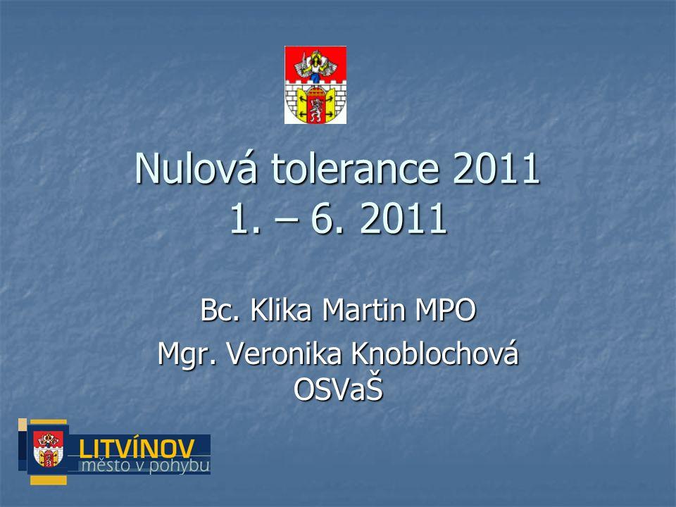 Nulová tolerance 2011 1. – 6. 2011 Bc. Klika Martin MPO Mgr. Veronika Knoblochová OSVaŠ
