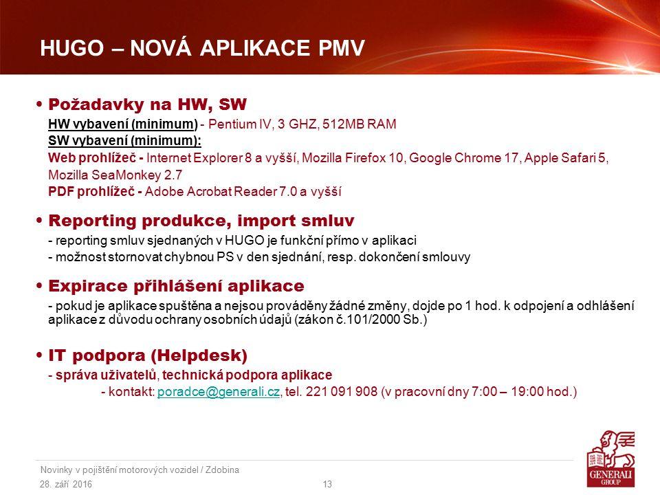 28. září 2016 Novinky v pojištění motorových vozidel / Zdobina 13 HUGO – NOVÁ APLIKACE PMV Požadavky na HW, SW HW vybavení (minimum) - Pentium IV, 3 G