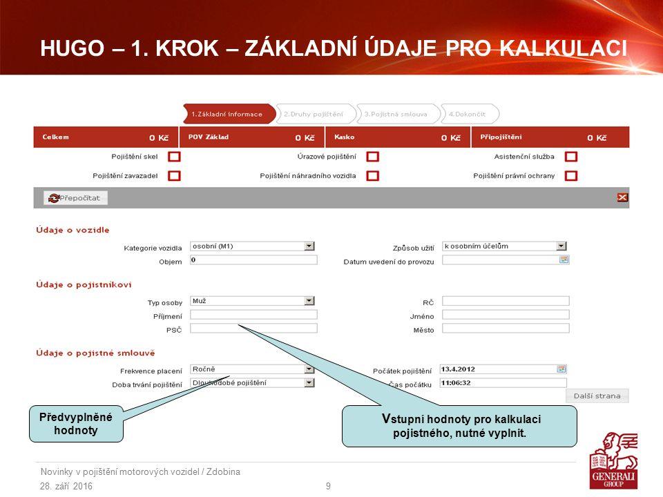 28.září 2016 Novinky v pojištění motorových vozidel / Zdobina 10 HUGO – 2.