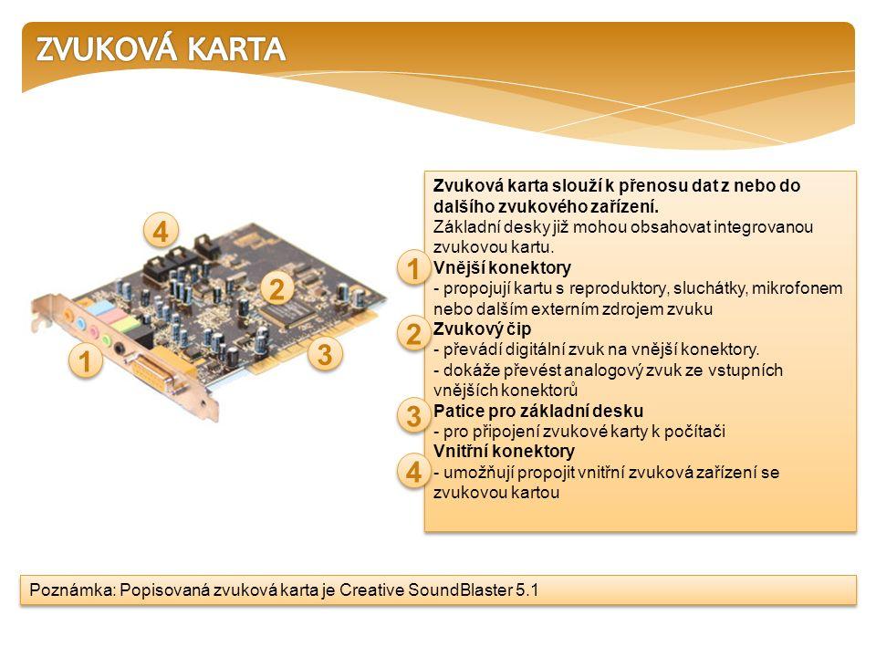 Zvuková karta slouží k přenosu dat z nebo do dalšího zvukového zařízení. Základní desky již mohou obsahovat integrovanou zvukovou kartu. Vnější konekt