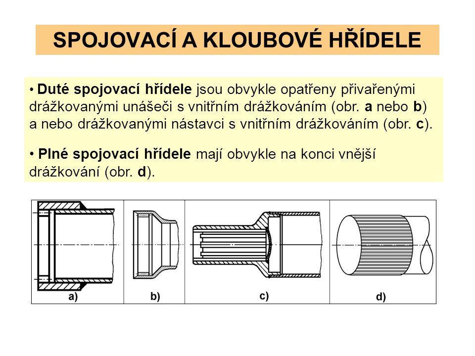 SPOJOVACÍ A KLOUBOVÉ HŘÍDELE Duté spojovací hřídele jsou obvykle opatřeny přivařenými drážkovanými unášeči s vnitřním drážkováním (obr.