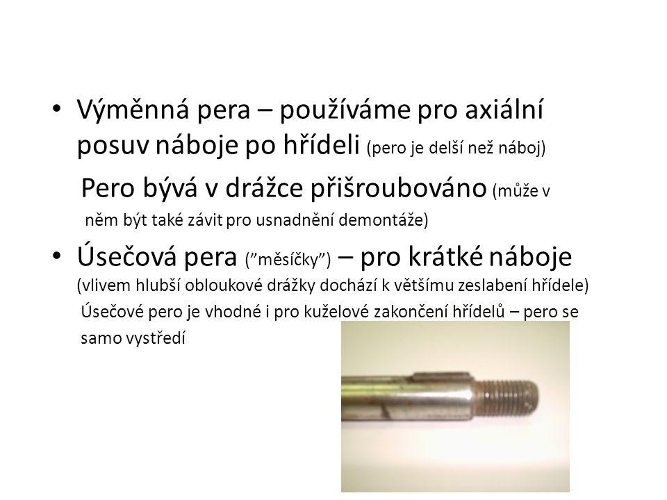 Výměnná pera – používáme pro axiální posuv náboje po hřídeli (pero je delší než náboj) Pero bývá v drážce přišroubováno (může v něm být také závit pro usnadnění demontáže) Úsečová pera (ˮměsíčkyˮ) – pro krátké náboje (vlivem hlubší obloukové drážky dochází k většímu zeslabení hřídele) Úsečové pero je vhodné i pro kuželové zakončení hřídelů – pero se samo vystředí