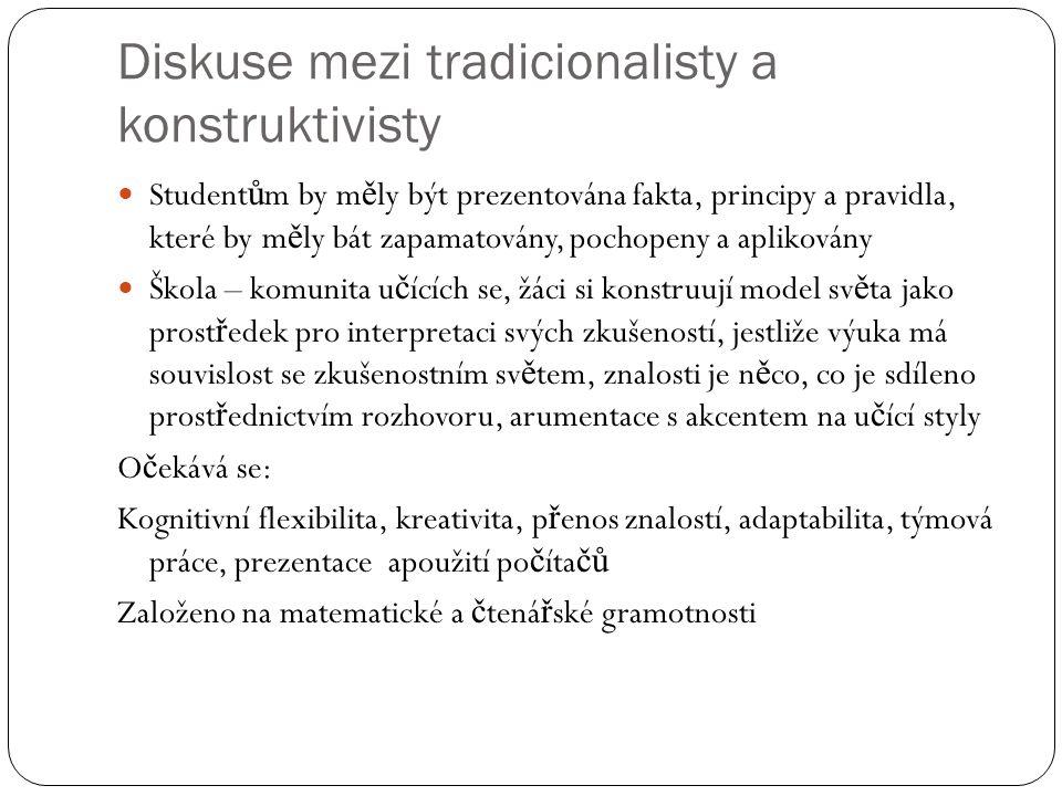 Diskuse mezi tradicionalisty a konstruktivisty Student ů m by m ě ly být prezentována fakta, principy a pravidla, které by m ě ly bát zapamatovány, po