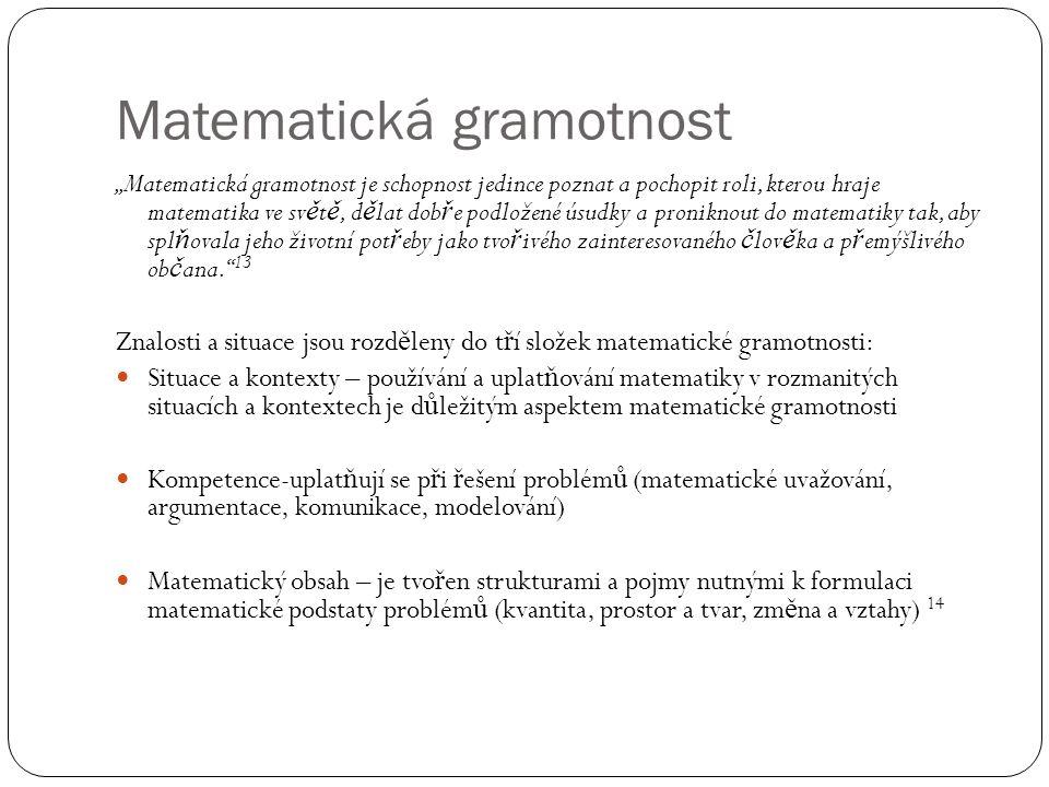 """Matematická gramotnost """"Matematická gramotnost je schopnost jedince poznat a pochopit roli, kterou hraje matematika ve sv ě t ě, d ě lat dob ř e podložené úsudky a proniknout do matematiky tak, aby spl ň ovala jeho životní pot ř eby jako tvo ř ivého zainteresovaného č lov ě ka a p ř emýšlivého ob č ana. 13 Znalosti a situace jsou rozd ě leny do t ř í složek matematické gramotnosti: Situace a kontexty – používání a uplat ň ování matematiky v rozmanitých situacích a kontextech je d ů ležitým aspektem matematické gramotnosti Kompetence-uplat ň ují se p ř i ř ešení problém ů (matematické uvažování, argumentace, komunikace, modelování) Matematický obsah – je tvo ř en strukturami a pojmy nutnými k formulaci matematické podstaty problém ů (kvantita, prostor a tvar, zm ě na a vztahy) 14"""